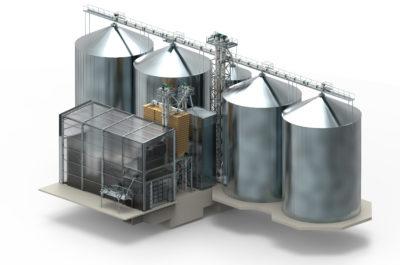 3D Modell Frontansicht einer Projektierung einer Siloanlage für Schüttgut vom Hersteller Zuther