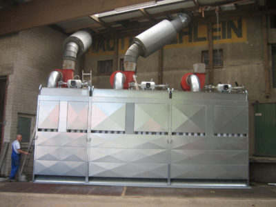 Gutter dedusting system by german manufacturer Zuther at a grain silo plant