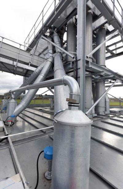 Zuther Filteranlage in einer Getreideanlage, wo der Rohrbau besaugt wird