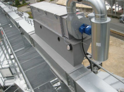 A point filter at a Zuther silo systemto keep the dust-burdened air in the conveyed material