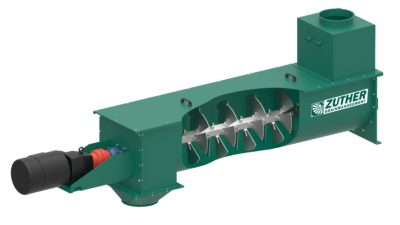 3d graphic of a moistening screw to wetting grain, by manufacturer Zuther