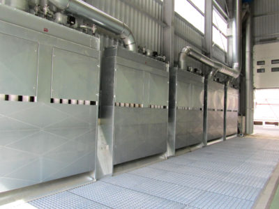Three receiving dedusting units to gutter dedusting system by german manufacturer Zuther