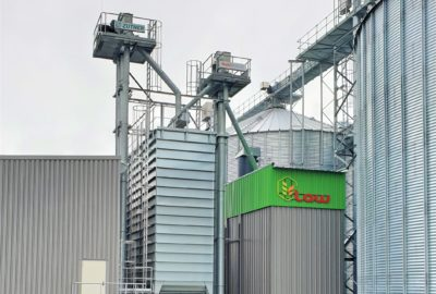 The grain silo facility of the producer LAW with corn dryer technology by plant builder Zuther
