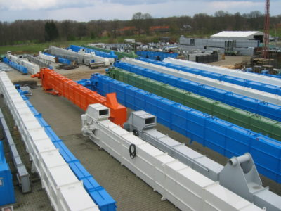 Many different sizes of chain bucket elevator conveyors ready for shipping worldwide, technology from Zuther