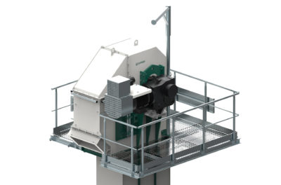 3d graphic of a bucket elevators conveyor head, technology from Zuther in Germany