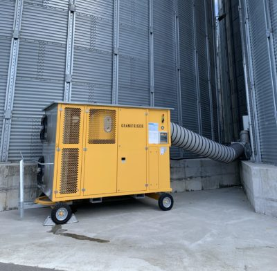 Cooling of grain to below 13 ° C on a grain silo with the Zuther Granifirgor grain cooling refrigerating devices