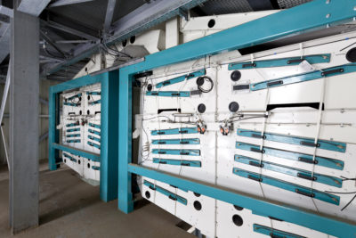 Zuther Getreidereiniger Optima mit 320 t/h Leistung, verbaut in der einer Siloanlage