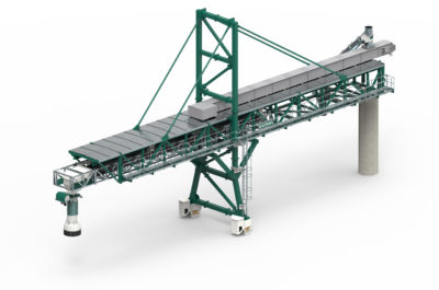 3D Design of ship loading system for industrial bulk material loading by the german manufacturer Zuther