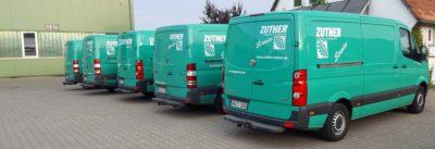 Zuther Service Flotte, grüne Montagefahrzeuge