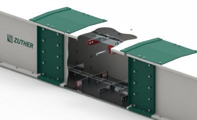 Trogkettenförderer von Zuther, Horizontale Fördertechnik für Pellets, als 3D-Modell mit Ausschnitt