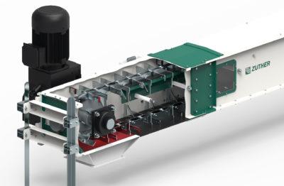 3D Modell von Zuther Trogkettenförderer mit Antriebsstation mit erhöhten Mitnehmern