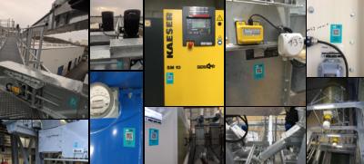 sFIX QR-Codes auf Maschinen zur Wartung
